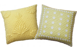 """Trapunto Pineapple"" & ""Patriotic Mini 20 Star"" in Butter Throw Pillows"