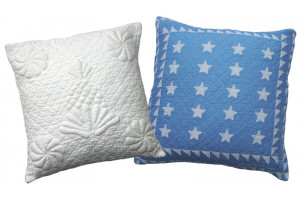 """Trapunto Pineapple"" in White & ""Patriotic Mini 20 Star"" in Cornflower Throw Pillows"